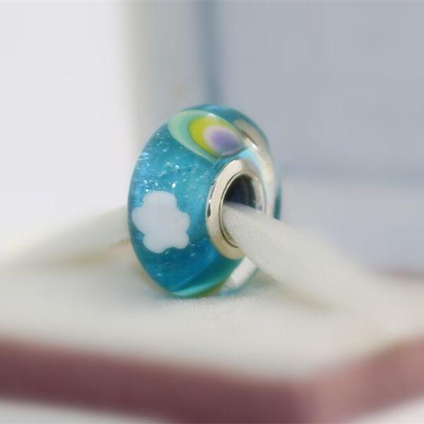 5 pcs S925 En Argent Sterling Vis Fileté Iridescente Arc-En-Murano Verre Perles Fit Pandora Charme Bijoux Bracelets Colliers