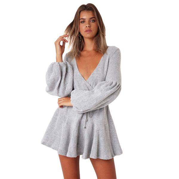 2018 Nouvelle Sexy Robes Pour Femmes Automne Mode Hiver Profonde V Puff Manches Bandage Robe 4 Couleur Vente Chaude