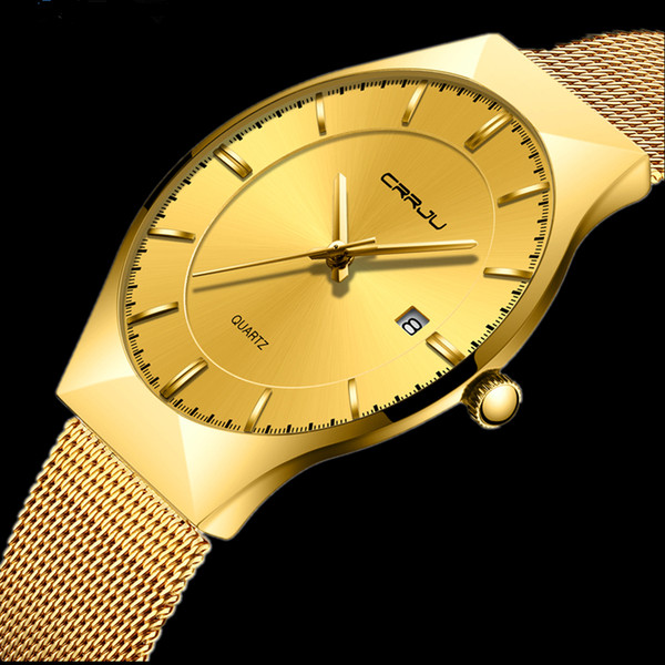 golden men's watch fashion date business quartz watches crrju full steel ultra thin wristwatch male clock relogio masculino, Slivery;brown