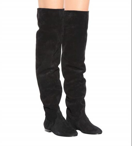 New women fashion round toe women's thigh-high boots suede flat boots