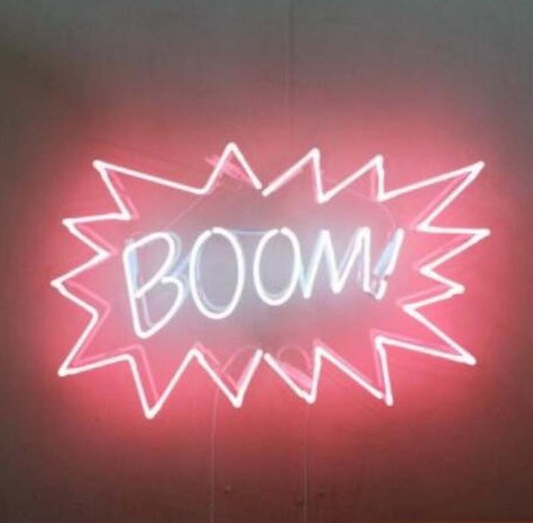 """BOOM Neon Sign Handmade Real Glass Tube Garage Home Decoration Bedroom Art Display Neon Signs With Clear Backing 19""""X15"""""""