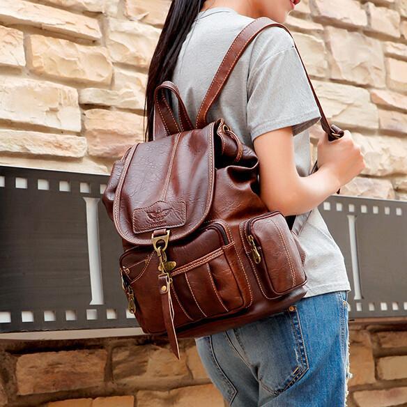 Brand Designer Brown Woman Backpack Fashion Pu Leather Backpack Bags Men Vintage Ladies Brown Daypack Girl Black Daily Rucksack