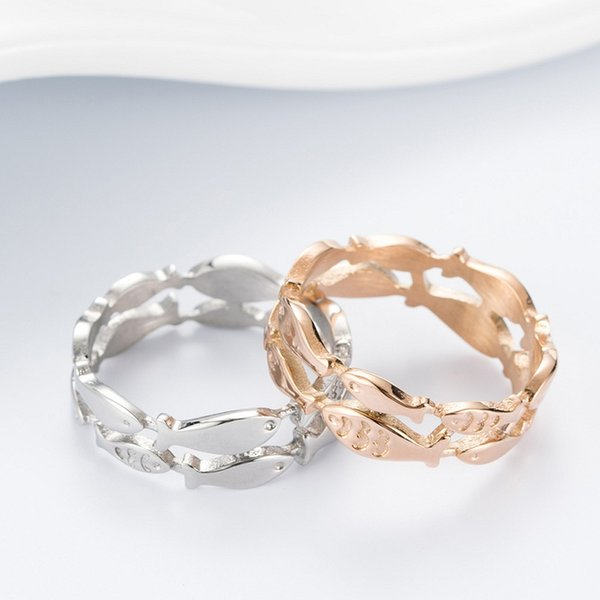 Korean Style Elegant Rose Gold Color Fish Group Stainless Steel Ring for Girlfriend Birthday Gift Fashion Jewelry Accessories