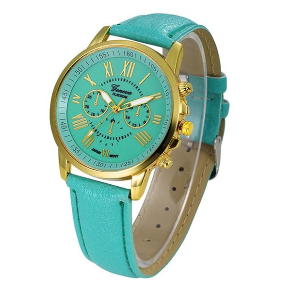 Women Fashion Geneva Roman Numerals Faux Leather Analog Quartz Wrist Watch