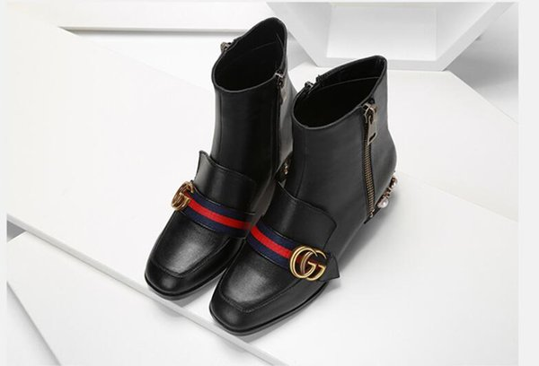 Luxury letter ribbon metal buckle low heel hort boot genuine cowhide leather fa hion woman pearl boot dh2a19, Black