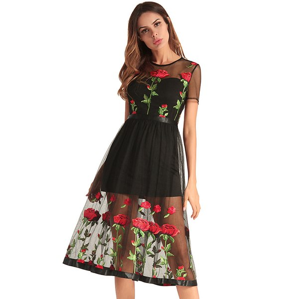 2018 Spring Xia Ladies Restore Ancient Ways Dress Gauze Embroidery Thick And Disorderly Skirt Full Dress Woman