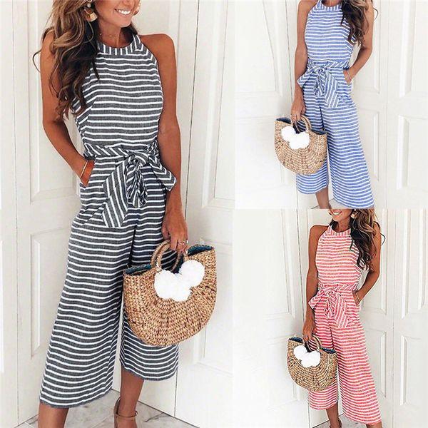 best selling Women Sleeveless Striped Jumpsuit Casual Clubwear Wide Leg Pants Outfit Sleeveless Women' s jumpsuit rompers womens #52420 Y1891903