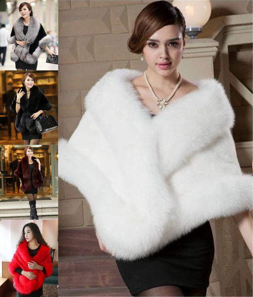 New Faux Fox Fur Bridal Shrug Wrap Cape Luxury Stole Shawl Bolero Jacket Coat For Winter Wedding Bride Bridesmaid Free Shipping WT12