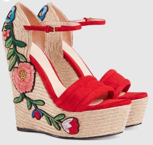 Boho wedges sandals women platforms high heels floral applique weave heels red black open toe bohemia Ankle Strap heels summer dress