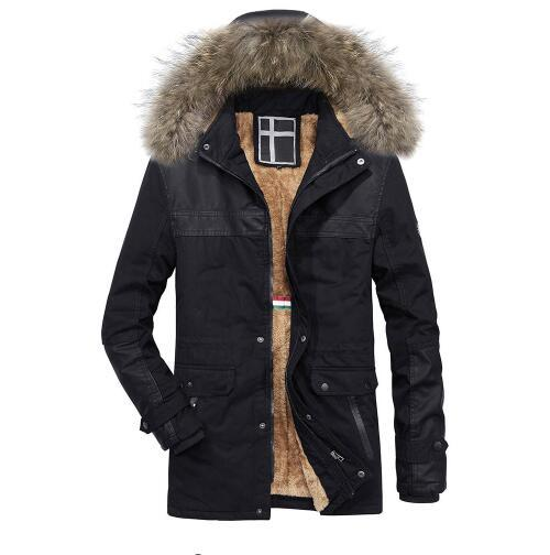 Men Winter Warm Hooded Zipped Thick Solid Fleece Coat Cotton-padded Jacket New Arrival Mens Jackets