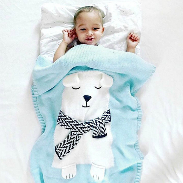 Home Textile Acrylic Wool Cute Cartoon White Bear Three-dimensional Animal Ears Children's Knit Blanket Towel Quilt Baby Adult