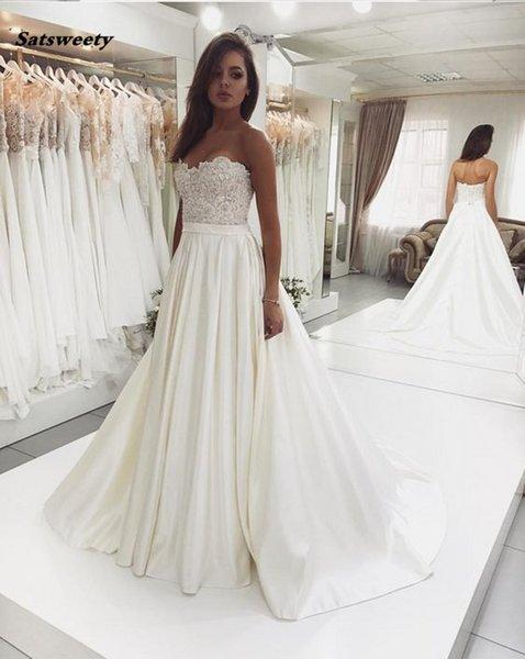 2019 New Design Sweetheart A Line Lace Bodice Satin Ivory Wedding Gowns Robe De Mariee Vintage Bride Wedding Dress