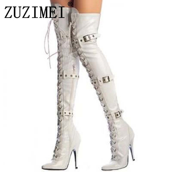 Spring Autumn 11cm Heels Woman Thigh High Boots Over the Knee Women Boots Shoes Sexy Platform Big size 34-43