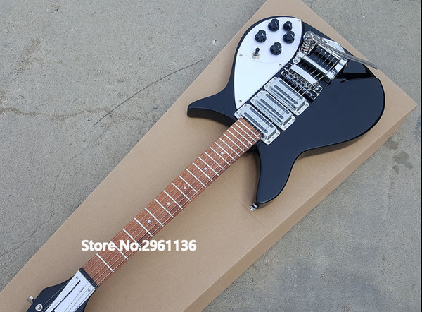 RIC John Lennon 325 Short Scale Lunghezza 527mm Jetglo 6 corde Chitarra elettrica nera Bigs Tremolo Gloss Paint Fingerboard, 3 Pickups per tostapane