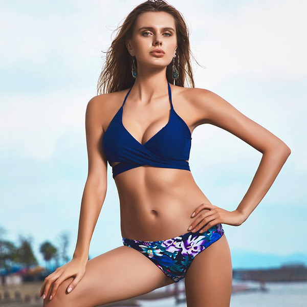 2018 Sexy Cross Brazilian Bikinis Women Swimwear Swimsuit Push Up Bikini Set Halter Top Beach Bathing Suits Swim Wear
