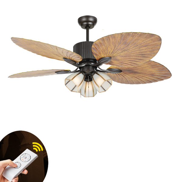 top popular European-style retro living room remote control Ceiling Fans Restaurant Living Room Fan Light 2021