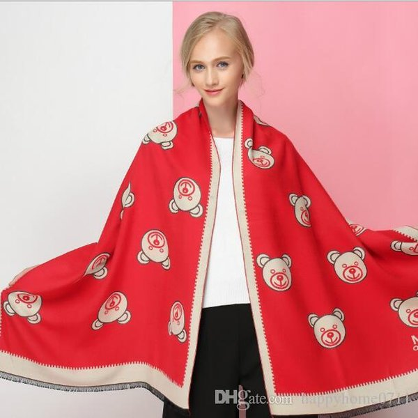Classic cartoon bear and letter cashmere scarf shawl blanket High quality comfortable brand M blanket Christmas gift blanket scarf shawl
