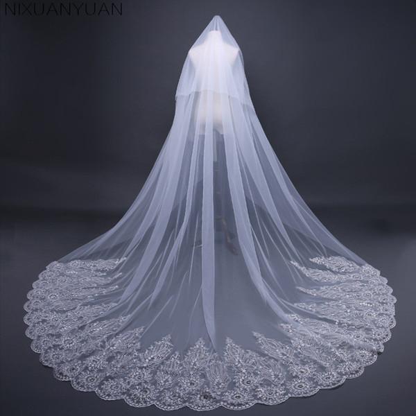 2018 vraies photos de haute qualité 2 niveaux blush couverture couverture visage cathédrale brillant dentelle paillettes voile de mariage avec peigne nouveau voile de mariée
