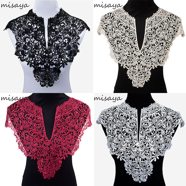 Misaya 3pc Polyester Big V Neck 4 Colors Lace Collar Fabric ,Diy Handmade Wedding Dress Collar Lace For Sewing Supplies Crafts
