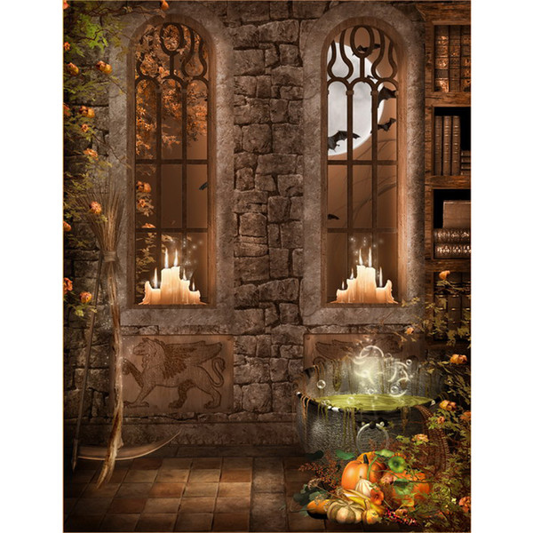 Halloween Photo Backgrounds Printed Old Books Candle Light Arch Windows Pumpkins Full Moon Night Kids Fairy Tale Party Backdrop