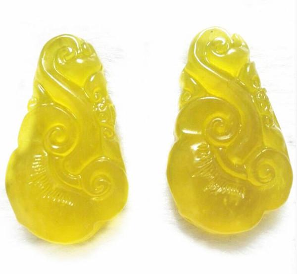 natural Ice of Xiuyan jade Single side carving Ruyi pendant Xiu jade yellow Ruyi agate jade pendant