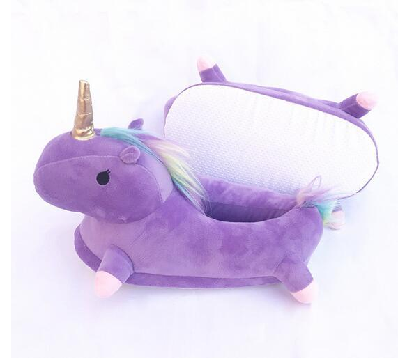 NEW Winter lovely Home flock latex solid indoor plush unicorn slippers house mules platform flip flops shoes pink purple white free shipping