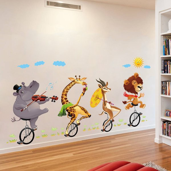 Animal Ride Bikes Wall Sticker DIY Wall Art Decals for Kids Room Living Room and Nursery Home Decor