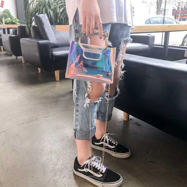 2018 Transparent Hologram Shoulder Bags Laser Outdoor Handbags Mini Chain Clear Clutch Bag Cat Metal Handle Design Bling Messenger Bag