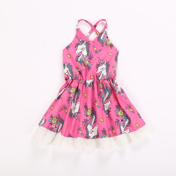 Girls Unicorn Vest Dress with Lace Unicorn Printed Baby Dresses Sleeveless Girls Skirts Breathable Cool Cotton 6M-4T