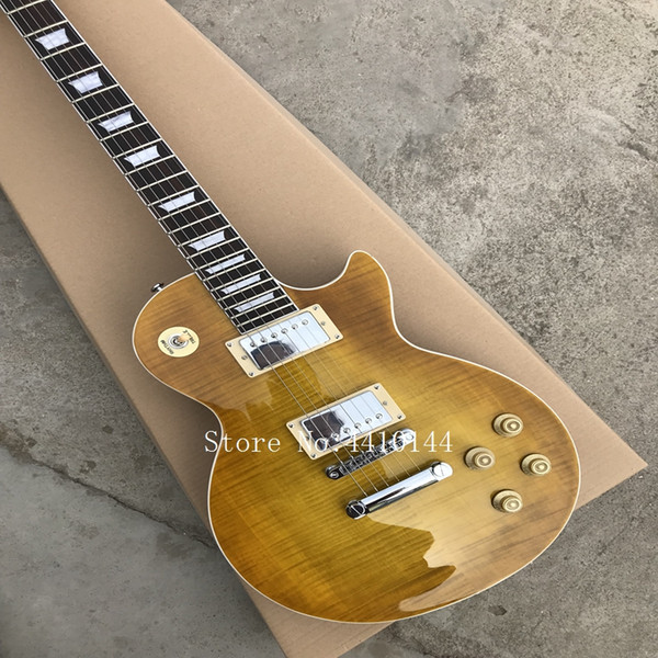 Wholesale China guitar light brown Flame Top Electric Guitars OEM Musical instruments