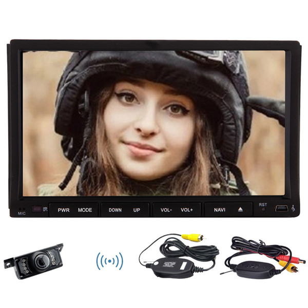 """Wireless Backup camera+Android 6.0 Marshmallow Quadcore Car Stereo 7""""HD Capacitive Sliding Touchscreen Double 2Din GPS Navigation car DVD CD"""
