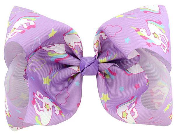 "free shipping 30pcs 8"" Large unicorn Bow With Hair Clip unicorn big hair bows ombre hair clips Girls Kids Handmade Metalic Printed Ribbon"