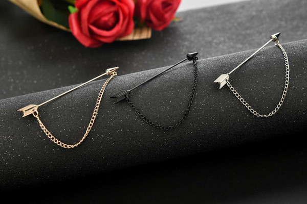 Korea Style Broach Gold Silver Black Color Bow and Arrow Brooch Pin for Mens Suit Shirt Tie Pin Clips Scarf Hat Accessories Male Breastpin