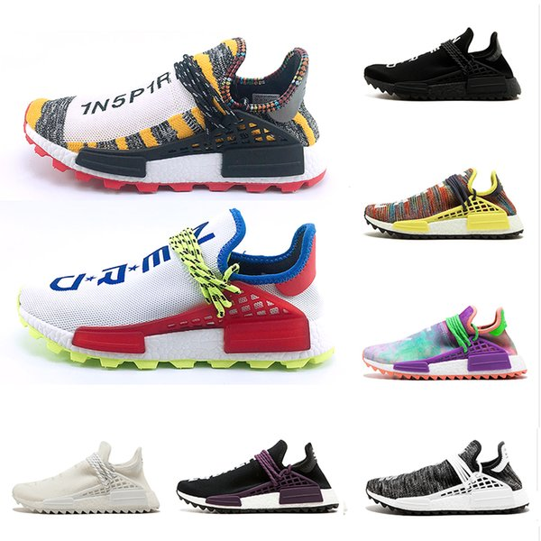 online store 3dd3a 1e9f8 2019 Creme X NERD Solar Human Race 2018 Running Shoes Pharrell Williams Hu  Trail Cream Core Black Equality Trainers Mens Women Sports Sneakers From ...
