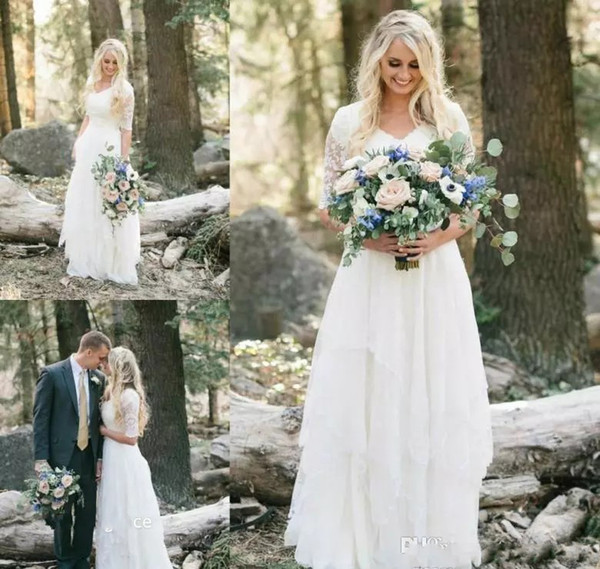 Discount 2017 Cheap Western Country Bohemian Forest Wedding Dresses Lace  Chiffon V Neck Boho Garden Bridal Gown Custom Made Plus Size Alternative ...