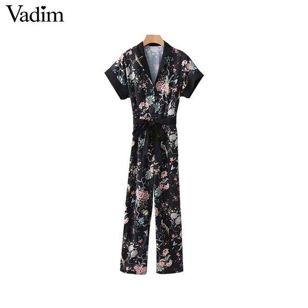 Vadim women retro floral jumpsuits bow tie sashes short sleeve elastic waist pockets rompers ladies casual long playsuits KA305