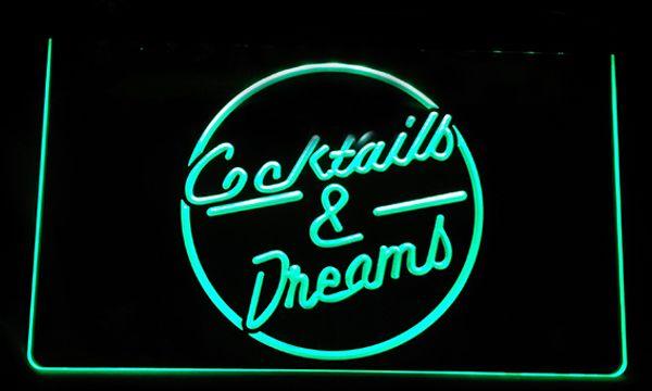 LS127-g Cocktails & Dreams Bar Beer Wine Pub Light Sign
