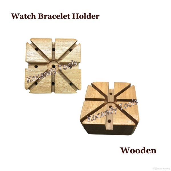 Wooden Watch Band Bracelet Strap Holder Link Pins Remover Watchmaker Repair Kit Tool