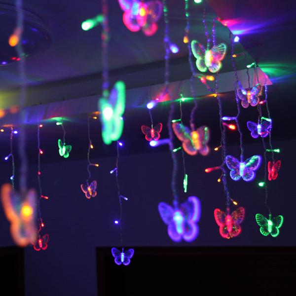 48 LEDs LED Butterfly Led String 8M*0.5M 220V 110V Curtain Holiday Lights Christmas New Year Garland Wedding Decor