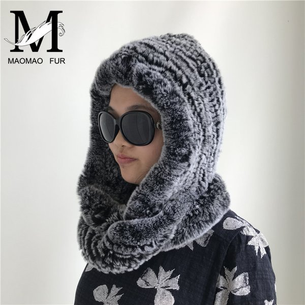 Women's Winter Scarves With Real Fur Hat New Luxury Fur Scarf Russian Warm Female Elegant Knit Real Rex Rabbit Hooded Scarf