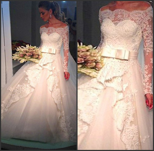 Tulle Off The Shoulder Ball Gown Wedding Dresses With Lace Hem And Long Sleeves amanda noivas vestidos de noiva
