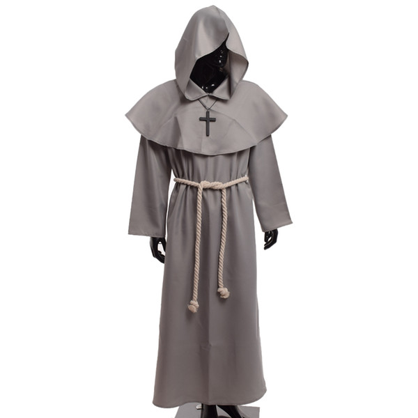 best selling Medieval Friar Costume Vintage Renaissance Priest Monk Cowl Robes Cosplay Outfits with Cross Necklace for Adult Men Gifts