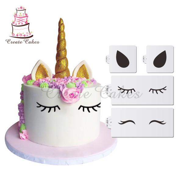 Einhorn Eyes Ears Dekorieren Cookie Schablone Set, Schablone für Cupcake Dekorieren, Schablone Set, Fondant Kuchen Dekorationen