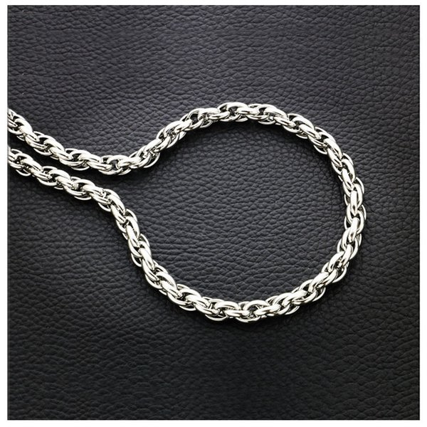 7mm Silver Chain For Men Hot Sale Twist Chains Necklaces Titanium Steel Rope Necklace 20 - 32inch Jewelry wholesale Free Shipping - 0856WH