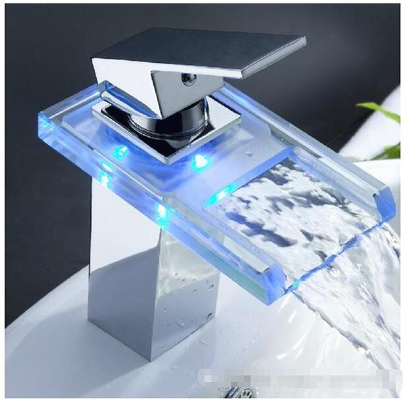 Fabulous 2019 Led Waterfall Bathroom Faucet Sets Shower Digital Mixer Tap Basin Sink Faucet With Single Handle One Hole Hot And Coled Brass Chrome Faucet From Home Interior And Landscaping Eliaenasavecom