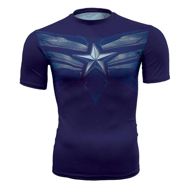 Men's fashion creativity t-shirt superman tights tee Superhero Winter Soldier sport short sleeves cycling fast dry baskest vest