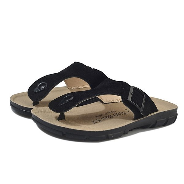 2018 Summer Men's Flat Sandals Casual Shoes Male Buckle Beach Genuine Leather Slippers Flip Flops Matt Q-19