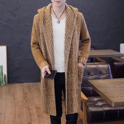 Homme solide Cardigan à capuche Homme épais Cardigan Maille longues Cardigans Hommes capuche pull en tricot Casual Male High Street Manteau d'hiver