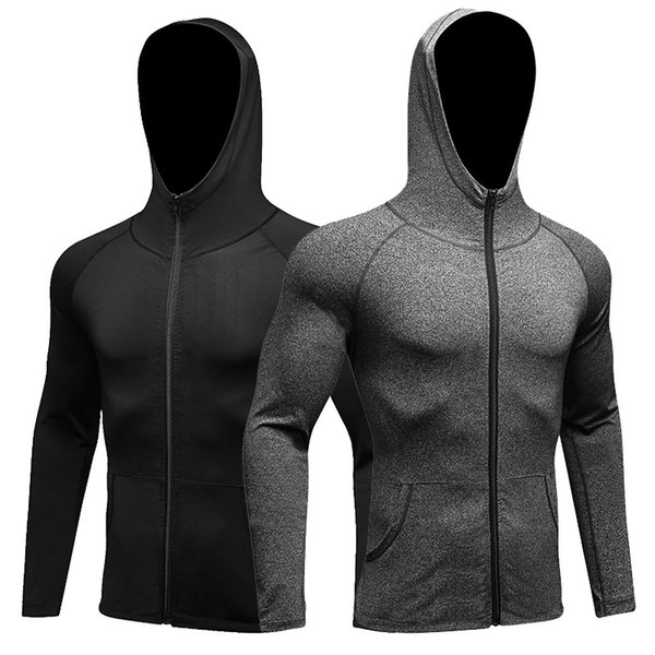 Mens Hoodie Soccer Jerseys Compression Fitness Rashgard T-Shirt Gym Bodybuilding Sportswear Sweatshirt Men Running Jacket S-2XL