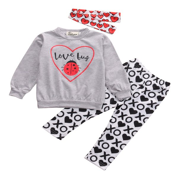Hot sell Toddler Baby Kids Girls Clothes Long Sleeve ladybug Shirt Tops+XO Pants 2pcs Outfit Clothing Set
